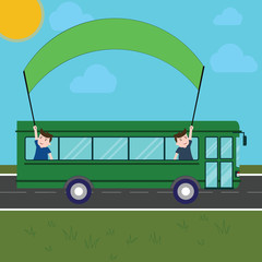 Business Empty template for Layout for invitation greeting card promotion poster voucher. Two Kids Inside School Bus Holding Out Banner with Stick on a Day Trip