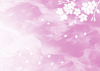 Wall Mural -  桜のイラストと和紙の背景
