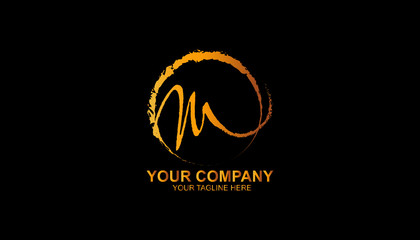 Hand drawn logos, Letter M logo design template with gradient color