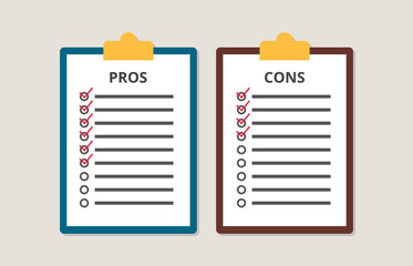 pros and cons versus compare choice checklist in clipboard vector Fotobehang