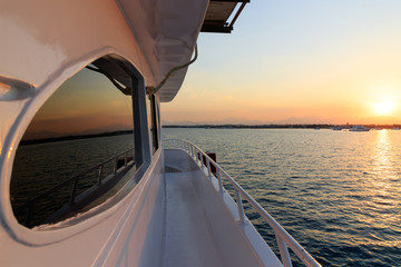 Sunset orange and red colors landscape, sea and sun with deep sky background..Red Sea, Egypt, Africa. Evening sunset view sky from boat yacht. Vacation at summer time. Sunrise morning beauty of nature