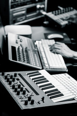 producer working in sound design studio. music production