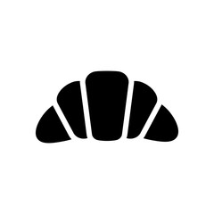 Silhouette of croissant. Icon of food. Black icon on white backg