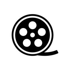 Film roll, old movie strip icon, cinema logo. Black icon on whit
