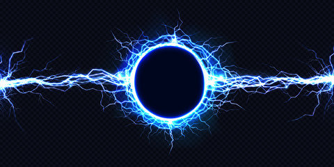 Powerful electrical round discharge hitting from side to side realistic vector illustration isolated on black background. Blazing lightning circle strike in darkness Electric energy flash light effect