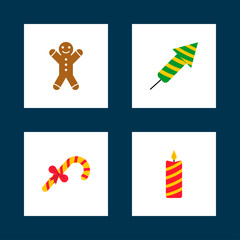 Cards with christmas icons. Gingerbread man, firework, sweet candies, candle. Vector illustration