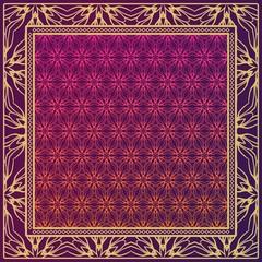 Template Print for Fabric. Pattern of Geometric ornament with Border. illustration. Seamless. For Print Bandana, Shawl, Carpet