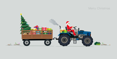 Santa driving a tractor With gift boxes and Christmas trees.
