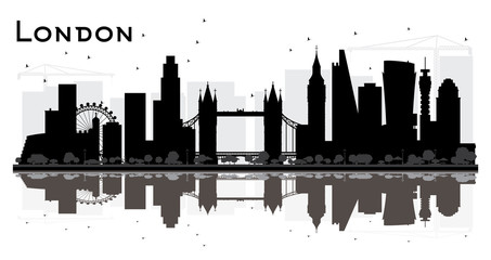 London England City Skyline Silhouette with Black Buildings Isolated on White Background.