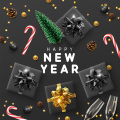 Happy New Year Modern background. Xmas sparkling gold star with gifts box and golden tinsel realistic glasses. Christmas posters, greeting cards, headers, website. Objects viewed from above. Flat lay,