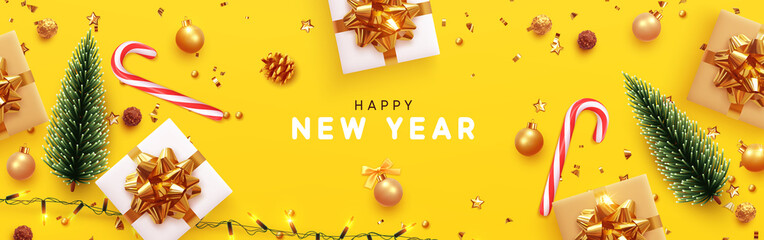 Happy New Year banner, Xmas sparkling lights garland with gifts box and golden tinsel. Horizontal Christmas posters, greeting cards, headers, website. Objects viewed from above. Flat lay, Top view