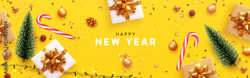 happy new year banner xmas sparkling lights garland with gifts box and golden tinsel