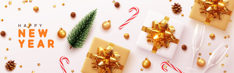 Happy New Year banner, Xmas sparkling gold star with gifts box and golden tinsel realistic glasses. Horizontal Christmas posters, greeting cards, headers, website. Objects viewed from above. Flat lay