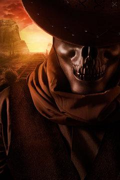 Skeleton ghost cowboy closeup portrait.