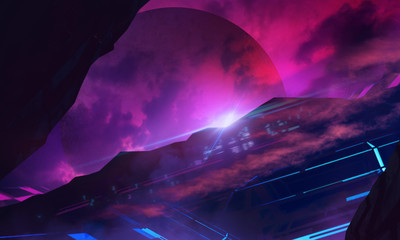 Furusistic sci-fi space illustration background.