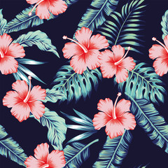 Flowers hibiscus pink monstera palm leaves pattern seamless