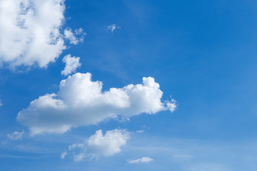 Summer blue sky with white cloud, weather and season concept, nature background