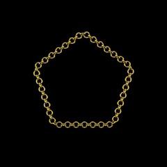 Golden chain. Isolated on black background. Pentagon frame.