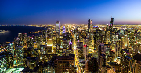 Chicago Skyline, Nightlife, Sunset, city life, Cityscape