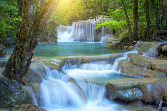 Beautiful waterfall in rainforest at National Park, Thailand