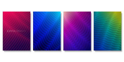 Set of Colorful Cover Templates. Abstract Three Dimensional Texture with Gradient Effect. Applicable for Web Background, Banners, Posters and Fliers. EPS 10 Vector.