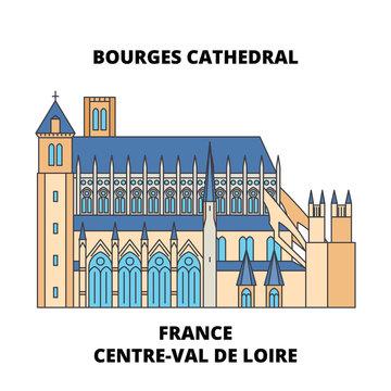 France, Centre-Val De Loire - Bourges Cathedral line travel landmark, skyline vector design. France, Centre-Val De Loire - Bourges Cathedral linear illustration.