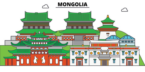 Mongolia line skyline vector illustration. Mongolia linear cityscape with famous landmarks, city sights, vector design landscape.