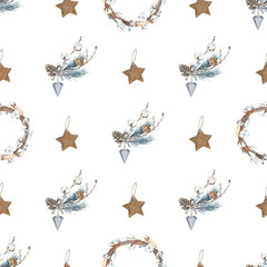 Scandinavian delicate watercolor patterns. Noel. Winter holiday patterns. Happy New Year and Merry Christmas! For packaging, paper, cloth, cards, banners and other