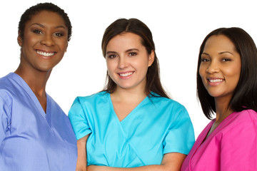 Medical team of women. Diverse group of nurses.