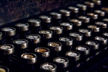 Keyboard of an old german vintage typewriter with cyrillic keys