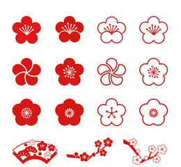 梅の花(単色) アイコンセット