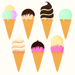 Set of cartoon icons. Ice cream scoops in different colors and waffle cone. Vector illustration