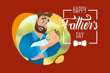 Vector Cartoon Illustration Concept Happy Father