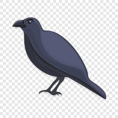 Black crow icon. Cartoon of black crow vector icon for web design