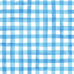watercolor gingham check, hand painted seamless vector pattern