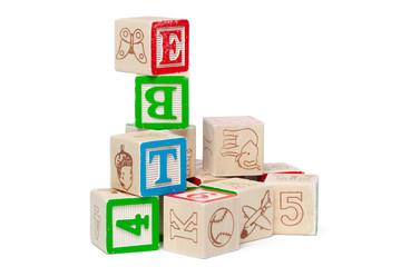 Wooden alphabet blocks isolated on white background