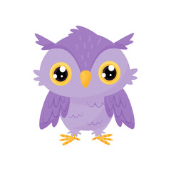Lovely purple owlet, cute bird cartoon character, design element for Birthday party vector Illustration on a white background