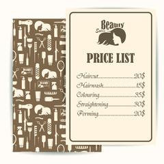 Beauty salon, barbershop vintage business cards and prices design template set. Vector illustration
