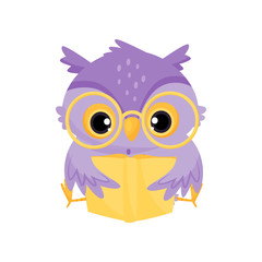 Wall Murals Owls cartoon Cute purple wise owl bird reading a book, school education and knowledge vector Illustration