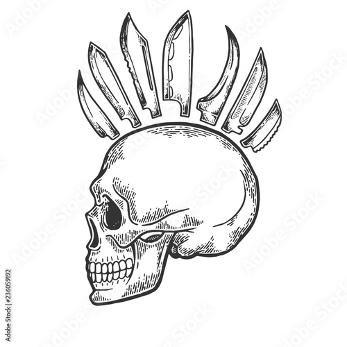 Skull With Knife Mohawk Hairstyle Engraving Vector Illustration