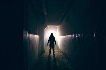 Silhouette of maniac with knife in hand in long dark creepy corridor, horror psycho maniac or serial killer concept - fototapety na wymiar