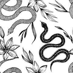 Seamless pattern. Hand drawn ink snake and lilies flowers, vector illustration. Snake silhouette illustration. Graphic sketch for print, patterns, clothes, fashion design, background, decor, textile.
