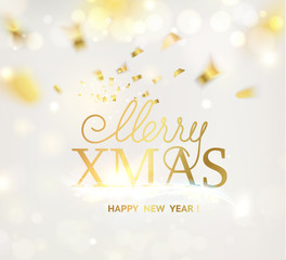 Happy new year card over gray background with golden confetti. Merry xmas 2019 sign on holiday card. Template for your design. Vector illustration.