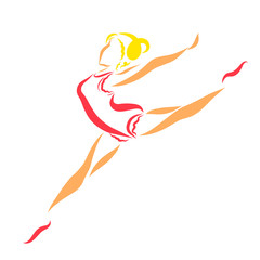 Cute ballerina or gymnast, jumping, colorful pattern