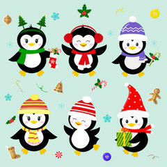 Set of six lucky Christmas penguin character in different hats and accessories. Celebrates New Year and Christmas. Cartoon style, vector