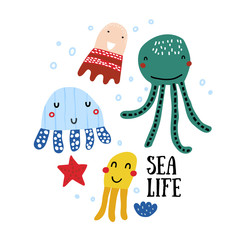 Sea life poster. Vector set - jellyfish, octopus and clam.