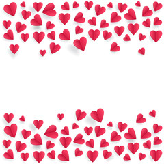 Hearts on abstract love background with paper cut hearts
