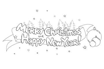 Merry Christmas and Happy New Year. Hand drawned vector  line art