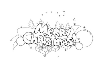Merry Christmas. Hand drawned vector illustration. Black and white line art