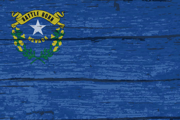 Nevada State Flag On Old Timber